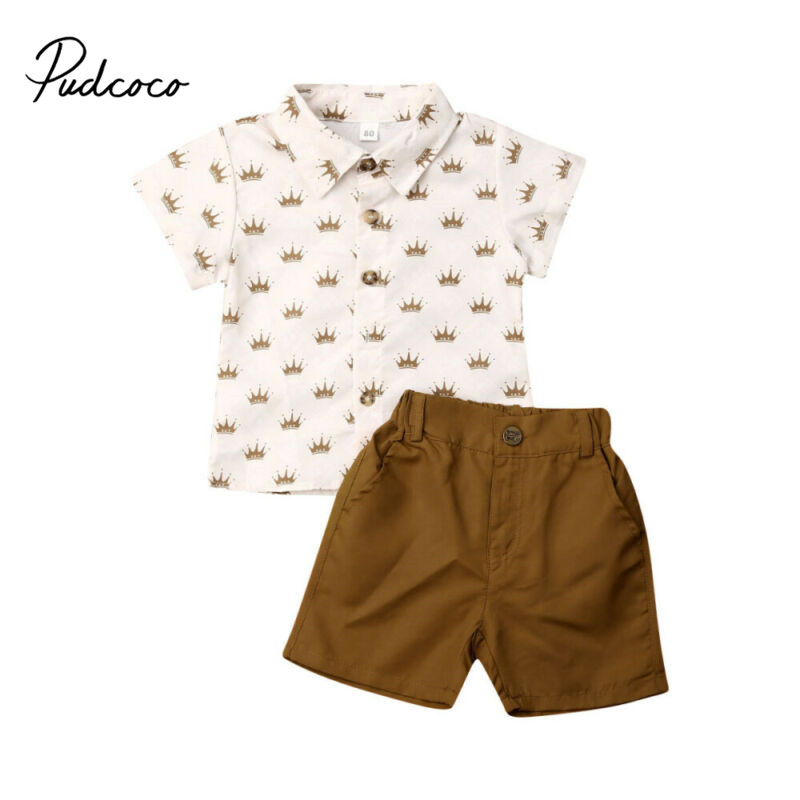 Pudcoco Gentleman Clothes Set 2020 Baby Boys Summer Suit Wedding Crown Full Print T-Shirt + Shorts Elastic Wasit Pants Outfits image