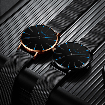 Ultra Thin black Stainless Steel Mesh Band Watch 6