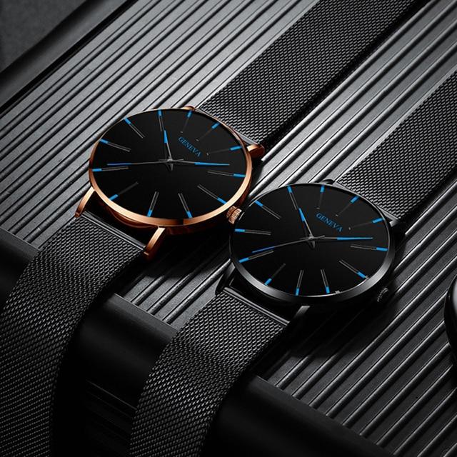 Moda de luxo masculino minimalista relógios ultra fino preto malha aço inoxidável banda relógio de negócios casual analógico relógio de quartzo 5