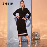 SHEIN Preto anel-Zip Frente Dividir Fita Hem Listrado Bodycon Vestido Longo Gola Mulheres Outono Esportivos Casuais vestidos lápis