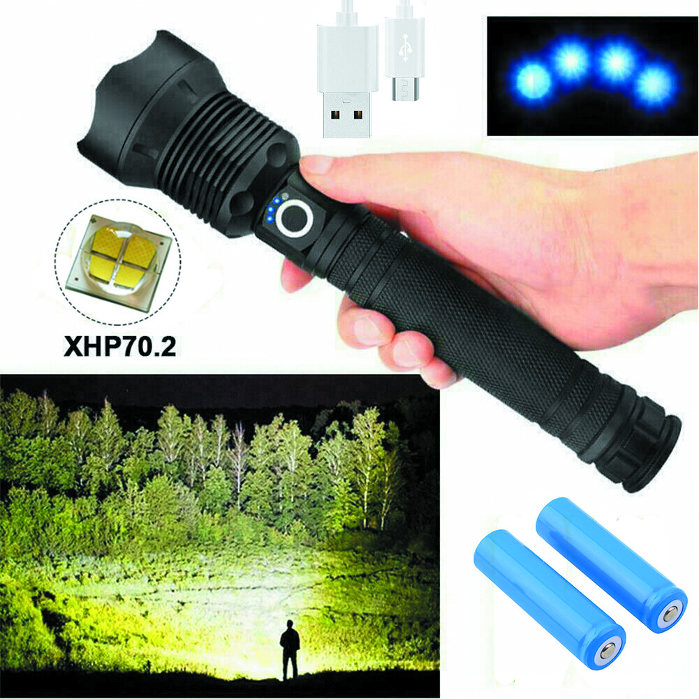 150000 люмен XHP70 5 Режим светодиодный USB Перезаряжаемые 18650 26650 фонарик Фонарь