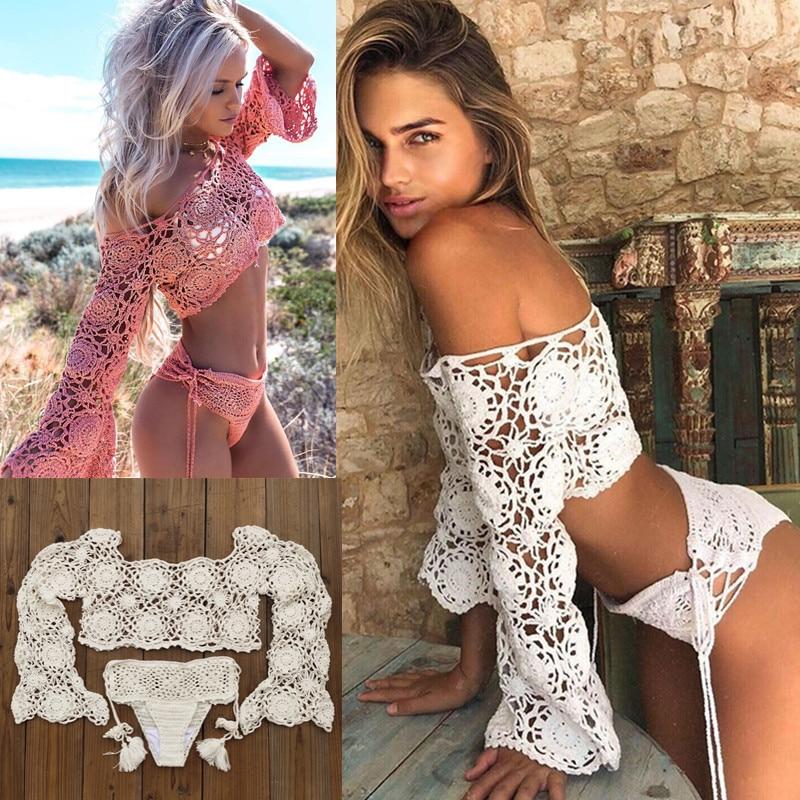 Hand Crochet Bikini Set Women Boho Sexy Cover Up Swimming Trunks Beach Swimwear Festival Clothing