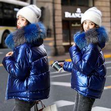 New Women Winter Gold Down Cotton Jacket New Fashion Glossy Black Big Hooded Thick Shiny Loose Big F