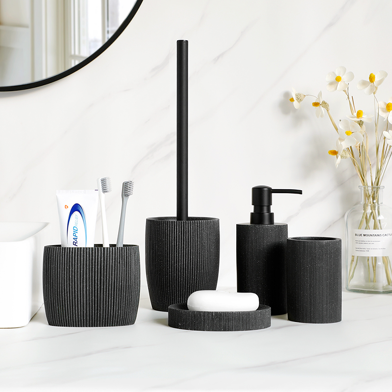 Black bathroom accessories sets Soap Dispenser Toothbrush Holder Tumbler Soap Dish Mouthwash Cup 5/4/3/2 Pcs Free Match