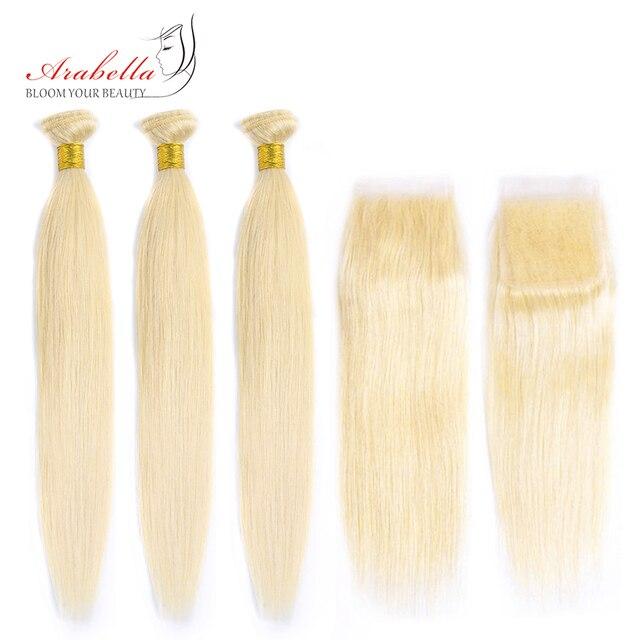 613 חבילות עם סגירה ברזילאי ישר רמי שיער ארבלה 100% שיער טבעי Weave חבילות בלונד חבילות עם סגירה