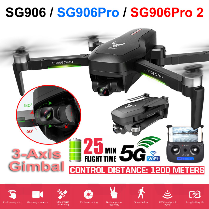Closeout DealsQuadcopter Gimbal 2-Axis FPV Dron Wifi Self-Stabilizing 4k Camera Sg906/sg906 PRO GPS