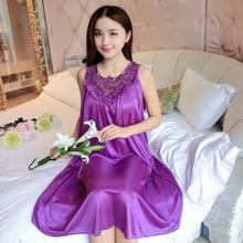 Lace Patchwork Ice Silk Satin Night Dress Smooth Nightwear Sexy Women Sleepwear Summer Sleeveless Nightgown Vestidos