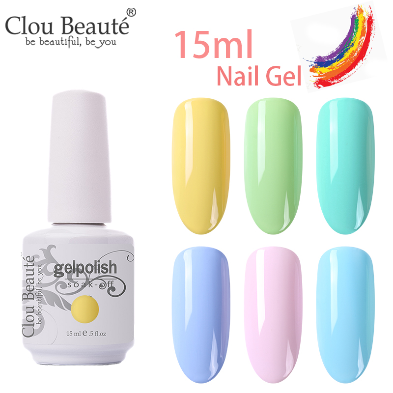 Clou Beaute Yellow Pink Colors Nail Gel UV LED Semi Permanent Nail Polish Varnish Hybrid 15ml Lacquer Resin Remove with Acetone(China)