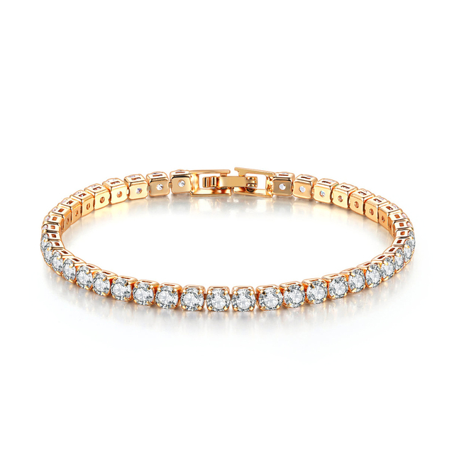ZHOUYANG Tennis Bracelets For Women Simple Luxury Round Crystal Gold Color Bangle Chain Wedding Girl Gift Wholesale Jewelry H074 5
