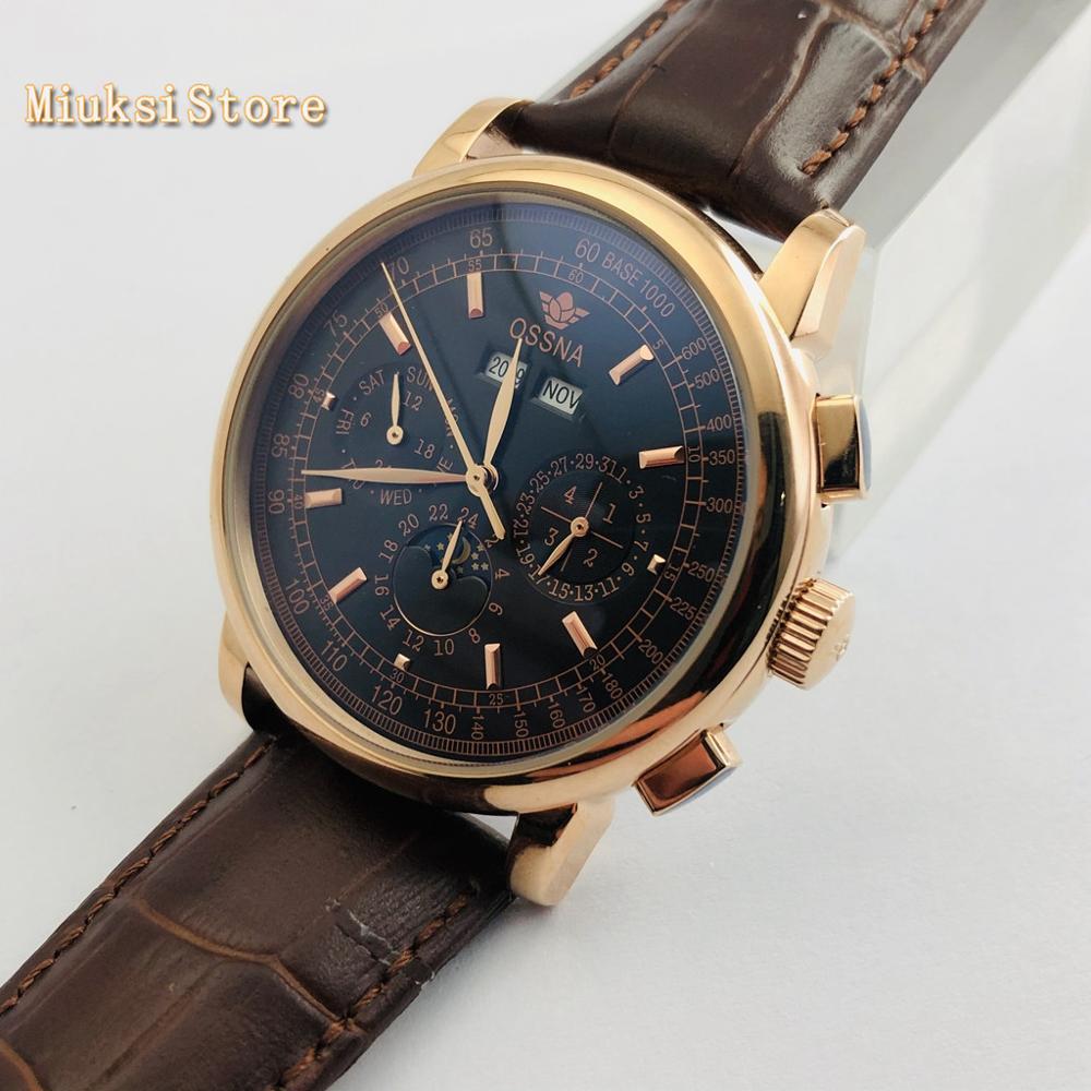 Ossna 42mm caixa de ouro preto dial data fase da lua multifunções pulseira couro automático dos homens topo relógio luxo presente - 3