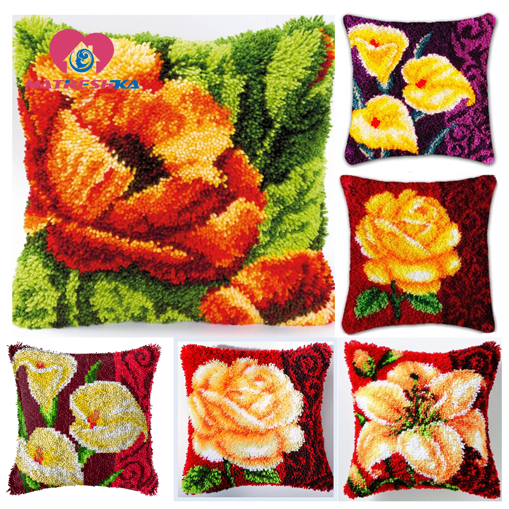 hobby carpet embroidery kits cross-stitch pillow Flowers do it yourself pillow embroidery canvas for carpet diy rugs home decor