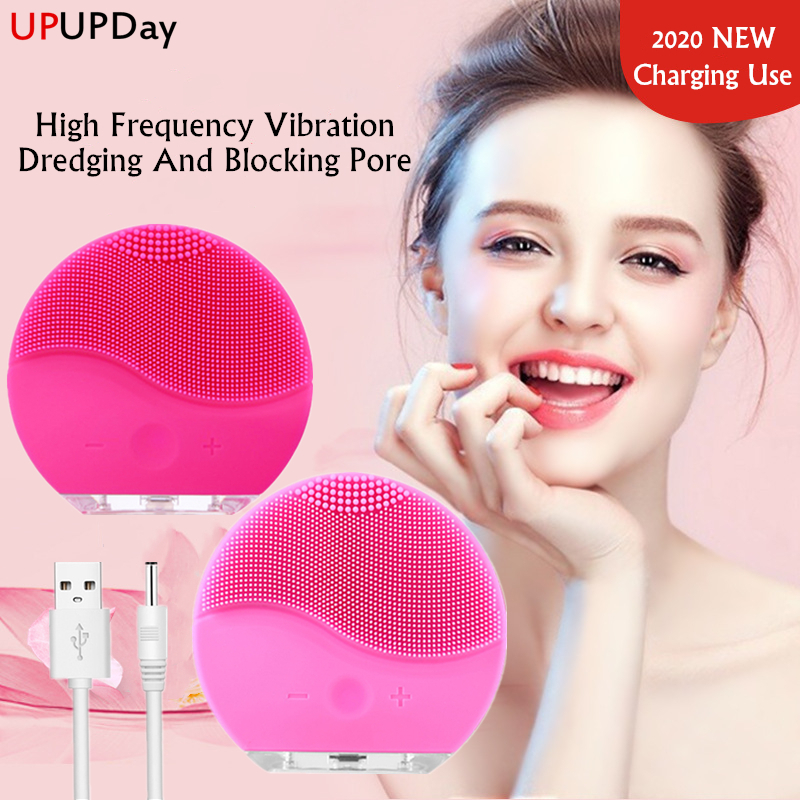 Face Cleansing Brush Deep Pores Cleansing Skin USB Mini Facial Massager Waterproof Face Cleanser Beauty Machine Silicone BrushPowered Facial Cleansing Devices   -