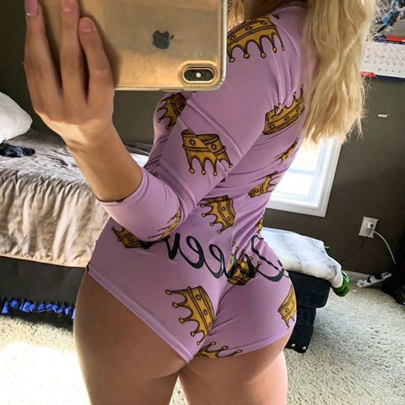 OMSJ Autumn Cotton Body   Rompers   2019 New Wome's Long Sleeve Jumpsuits Night Clubwear V-neck Letter Print Skinny Bandage Playsuit