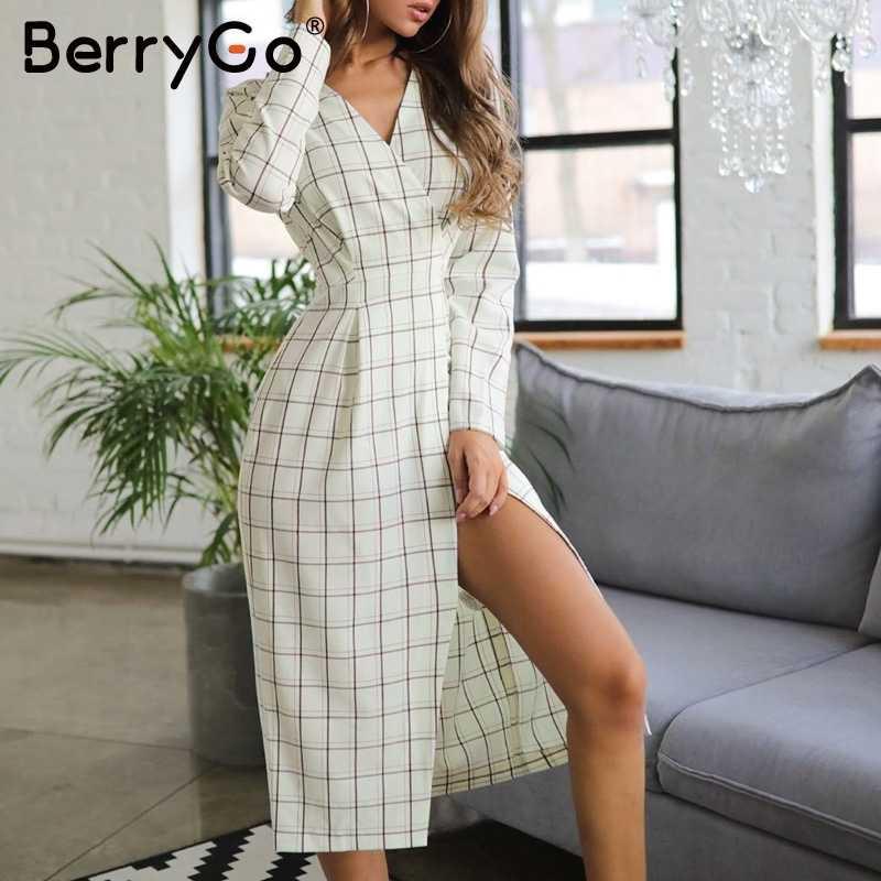 BerryGo сексуальное клетчатое белое длинное платье с v-образным вырезом и длинным рукавом элегантное офисное женское осеннее шикарное платье для работы женское вечернее платье