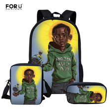 FORUDESIGNS American African Boys Print School Bag Set for K