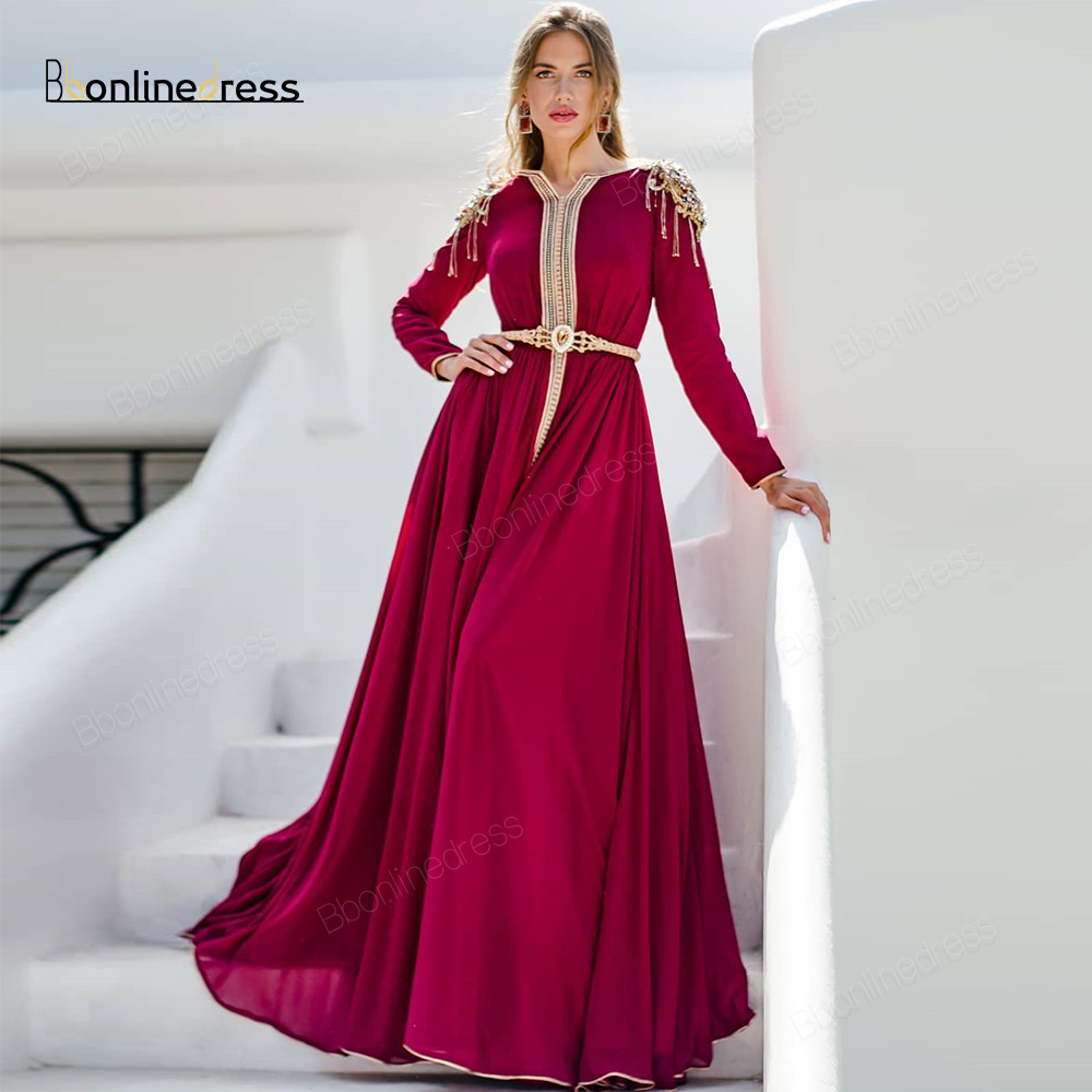 Bbonlinedress Moroccan Kaftan Evening Dresses Embroidery Appliques Long Evening Dress Full Sleeve Arabic Muslim Party-Dress