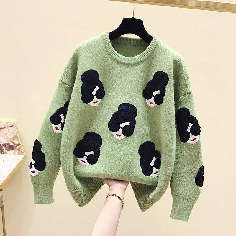 Cartoon Girl Pattern Knitted Women's Sweater O-Neck Print Loose Female Pullovers Winter 2020 Fashion Warm School Ladies Sweaters