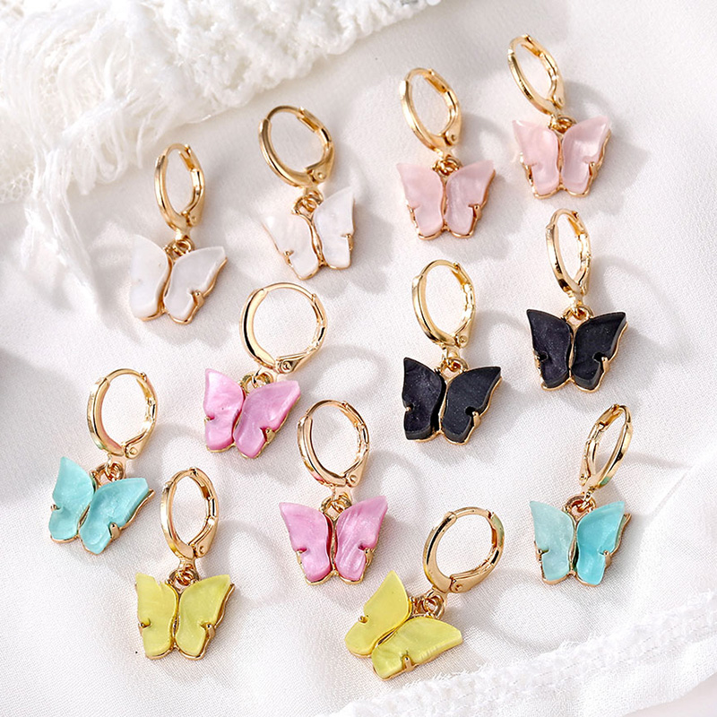 FNIO Fashion Butterfly Earrings For Women Animal Sweet Colorful Korean Acrylic Earrings 2020 Statement Girls Party Jewelry