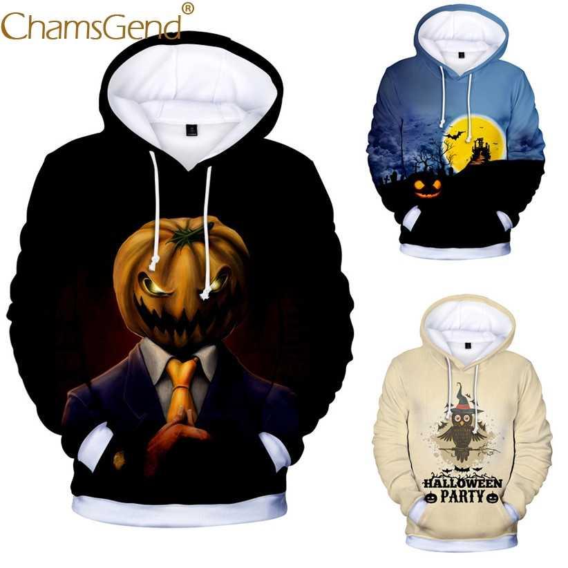 ฟักทองน่ากลัว 3d พิมพ์ Hoodie Sweatshirt ชายฮาโลวีนเสื้อแขนยาวจัมเปอร์ Man ชาย Streetwear เสื้อ 908