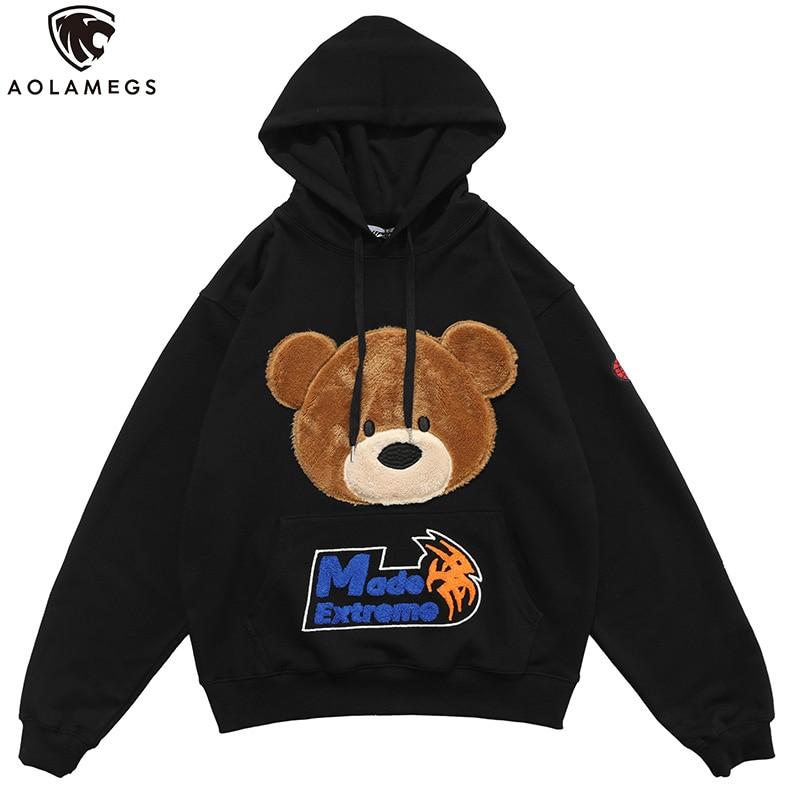 Aolamegs Hoodies Men Cartoon Furry Bear Letter Patch Harajuku Oversized Retro Hip Hop Hooded Pullover Men Sweatshirt Streetwear
