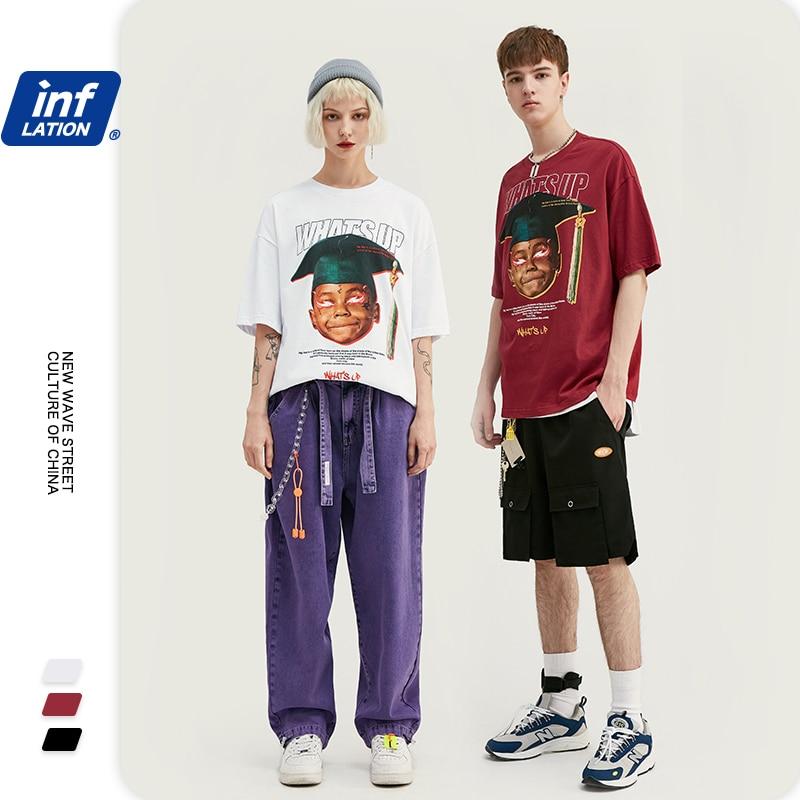INFLATION 2020 Summer Men T-Shirt футболка мужская Men T-Shirt Hip Hop Streetwear Tshirts Harajuku Casual Men's T-shirt 1162S20