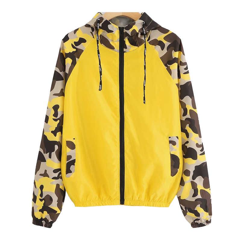 봄 위장 패치 워크 여성 자켓 후드 얇은 코트 여성 긴 소매 자켓 캐주얼 핑크 블랙 블루 옐로우 윈드 브레이커