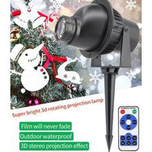 LED 3D Waterproof Christmas Effect Remote Control Light Outdoor Lawn Bar Stage Lamp Rotary Projector Christmas Atmosphere