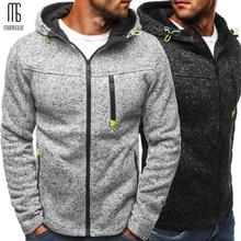 Manoswe Мужская Спортивная повседневная одежда на молнии, модные жаккардовые толстовки с капюшоном, флисовая куртка, осенние толстовки, Осеннее зимнее пальто