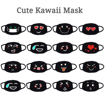 Womens Mouth Reuse Masks Cute AntiDust Kawaii Muffle Masks Cartoon expression Washable Anti-sneeze Face Mask Ordinary mask