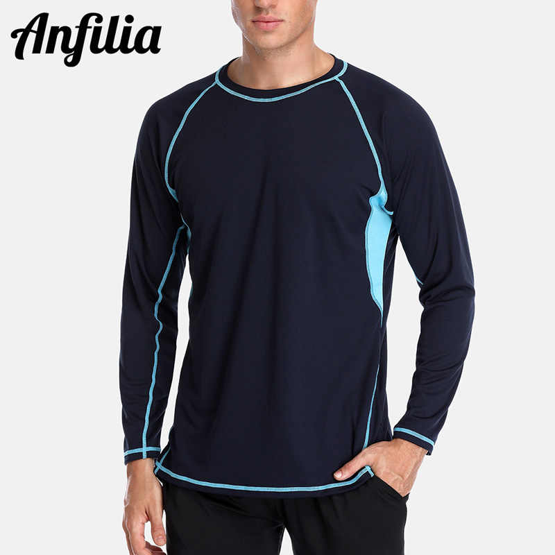 Anfilia mannen Rashguard Dry-Fit Korte Shirts Mannen Duiken Shirt UV-Bescherming Rash Guard Top UPF 50 + surfpakken Beach Wear