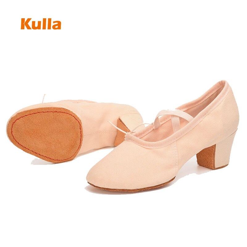 Woman Practice Dance Shoes Girl Teacher Latin Dancing Shoes Canvas Soft 5cm High Heel Women Shoes Performance Training Wholesale