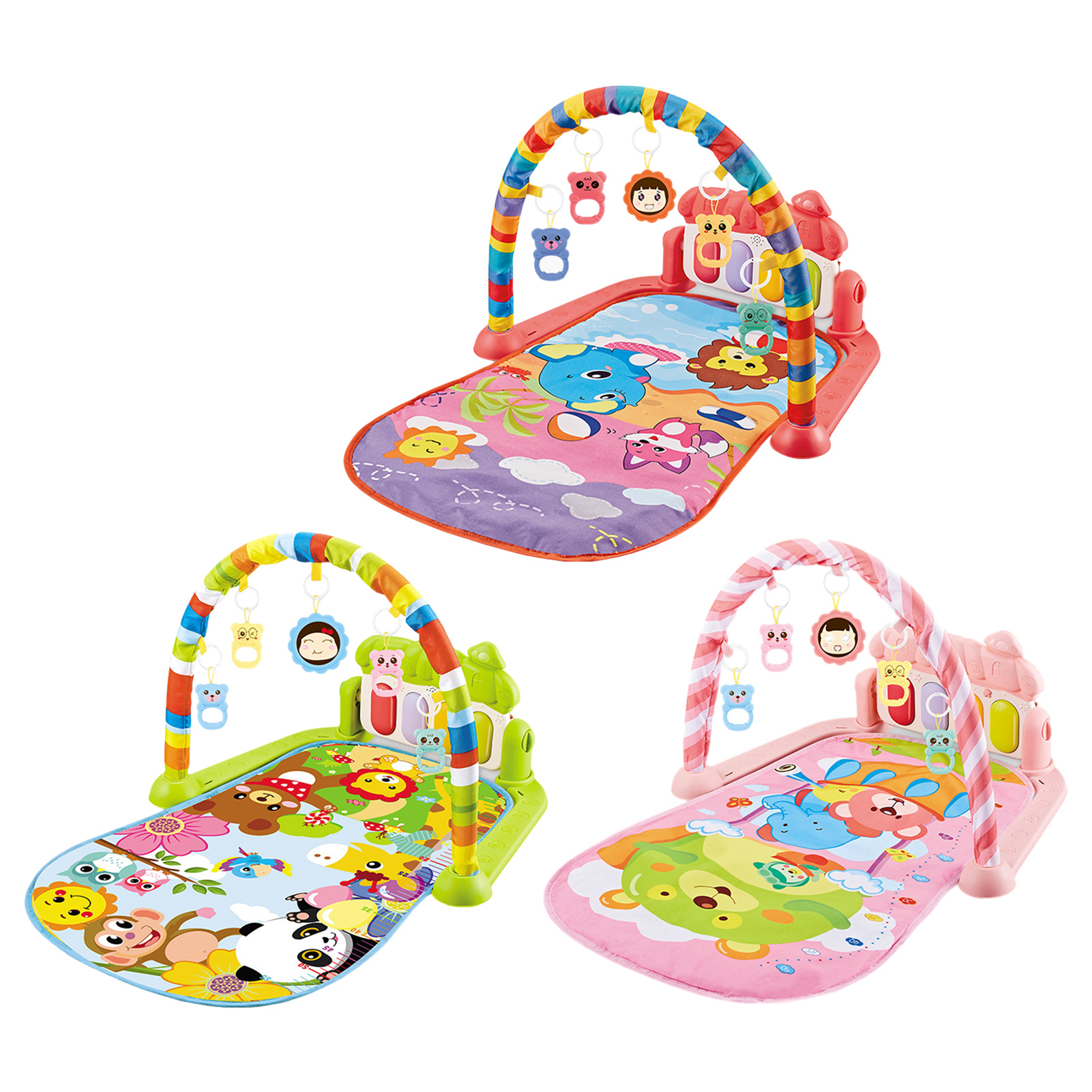 Baby Play Mat Toy Rug Baby Pedal Piano Play Music Crawling Mat Play Piano Keyboard Infant Playmat Activity Gym With Hanging Toys