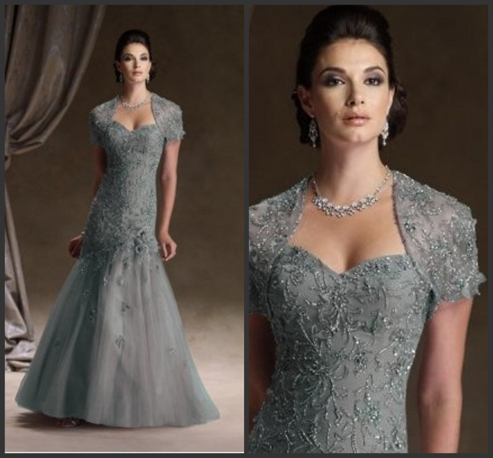 Mermaid Sweetheart Long Appliqued Beaded Fashion Elegant 2016 Unique Mother Of The Bride Dresses With Jacket Short Sleeve HM54