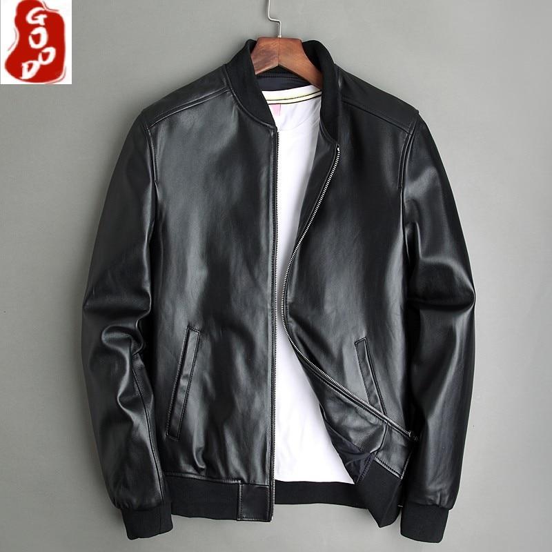 Size 5XL Thin Sheepskin Slim Fit 100% Genuine Leather Bomber Jacket Men Real Leather Jacket Black Skin Coats Spring Autumn M052