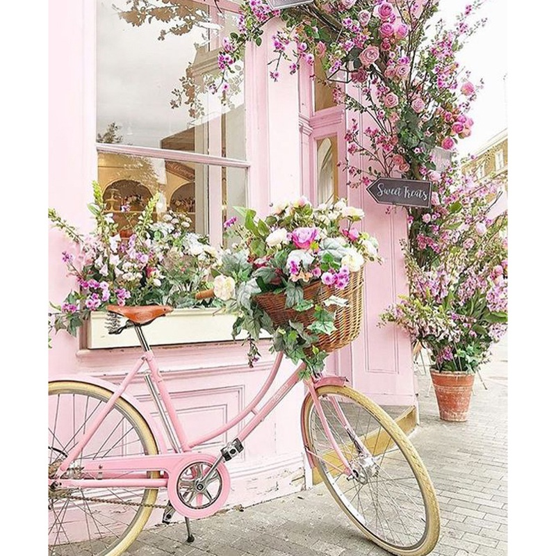 Dpf Diy Bicycle Flower 5D Square Diamond Painting Cross Stitch Crafts Diamond Embroidery Wall Painting Home Decor