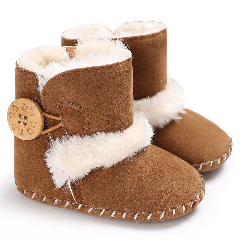 0-18M Newborn Infant Baby Girls Snow Boots Winter Warm Baby Shoes Solid Button Plush Ankle Boots 2