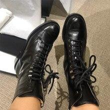 Ботинки женская зимняя обувь черные кожаные ботинки с заклепками, с круглым носком, на шнуровке, на плоской подошве, на молнии, армейские ботинки г. Новые женские модные ботинки