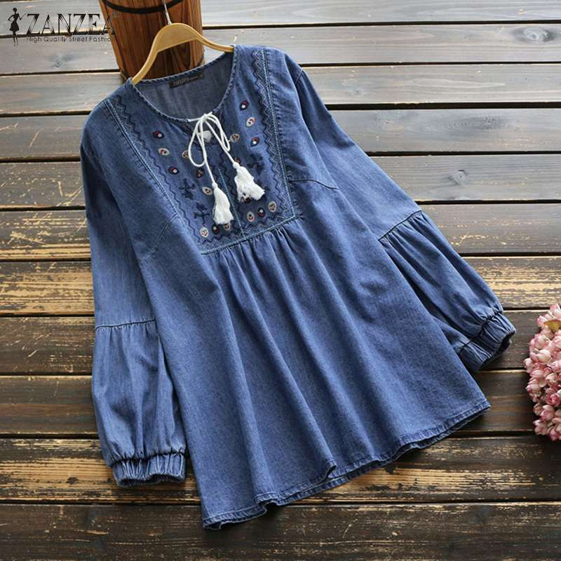 ZANZEA Vintage Denim Blouse Women Long Sleeve Embroidery Tops Casual Loose Tassel Blusas Chemise Plus Size V Neck Lace Up Shirt7