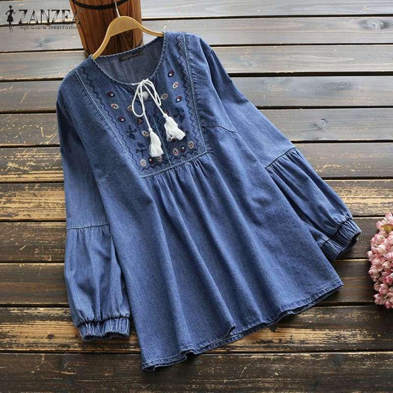 ZANZEA Vintage Denim Blouse Women Long Sleeve Embroidery Tops Casual Loose Tassel Blusas Chemise Plus Size V Neck Lace Up Shirt7