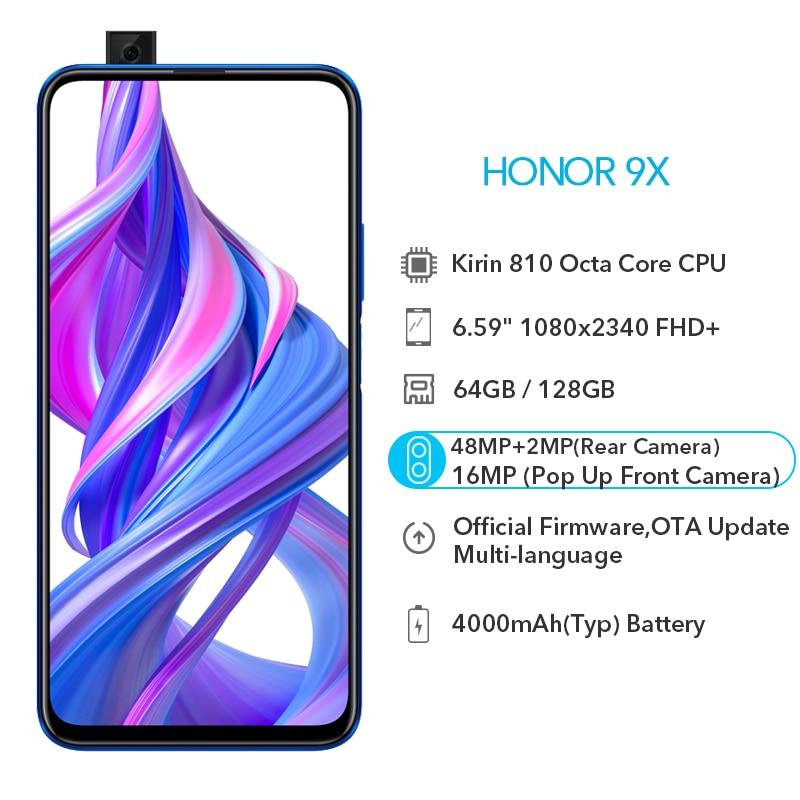 Honor 9X Global ROM 4GB 64GB 128GB 48MP Dual Cameras 4000mAh GPU Kirin 810 Octa Core 6.59 inch Full Screen FHD 1080x2340P