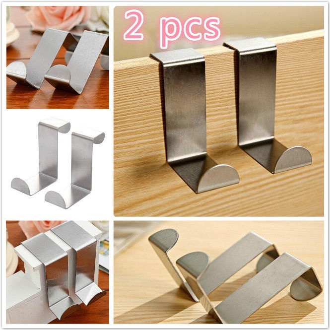 2PC Stainless Door Hook Lock Kitchen Cabinet Bag Clothes Hanger Latch For Door Plastic Towel Hanger Key Towel Hanger