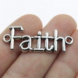 WYSIWYG 5pcs 40x15mm Pendant Faith Connector Faith Word Connector Charm Pendants For Jewelry Making Faith Pendants