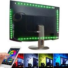 По Bluetooth с RGB USB из светодиодов полосы света 5050 СМД 5В гибкий неон Лента Тирас luces светодиодов лампа диодные ленты 1М 2М 3М 4М 5М подсветки телевизора