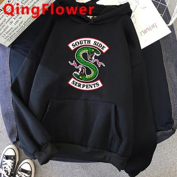 Fashion Riverdale Southside Serpents Harajuku Snake Hoodies Ullzang Funny Cartoon Oversized Sweatshirt Streetwear Hoody Female