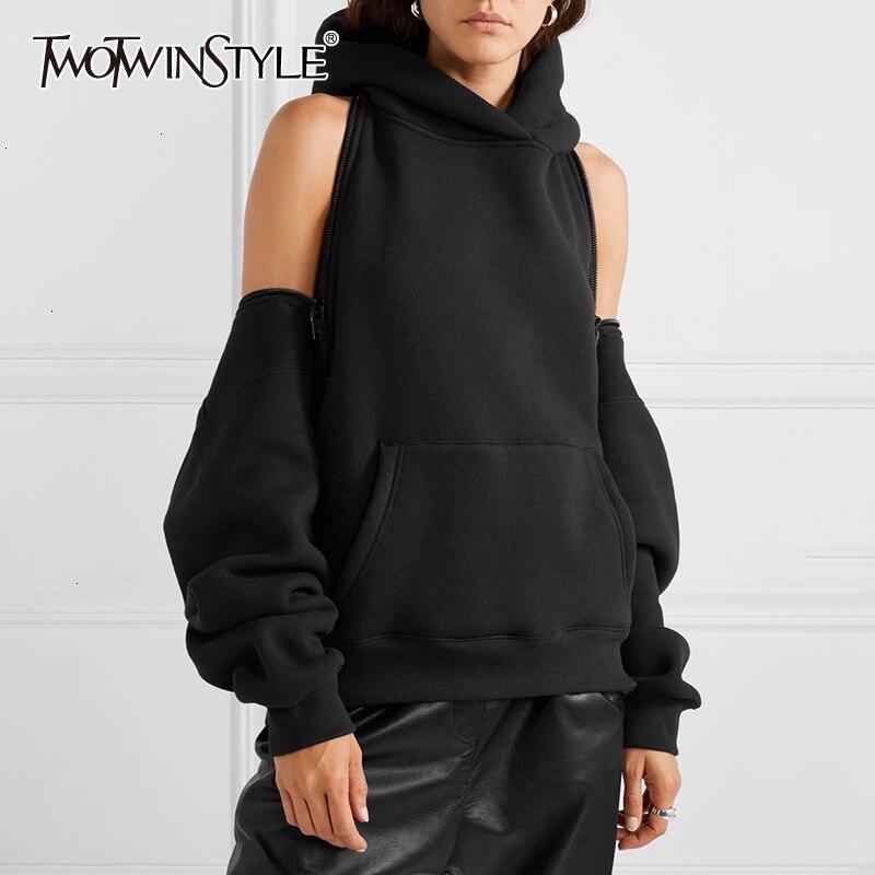 TWOTWINSTYLE Casual Loose Women's Sweatshirts Hooded Long Sleeve Zipper Backless Off Shoulder Sweatshirt For Female 2020 Fashion