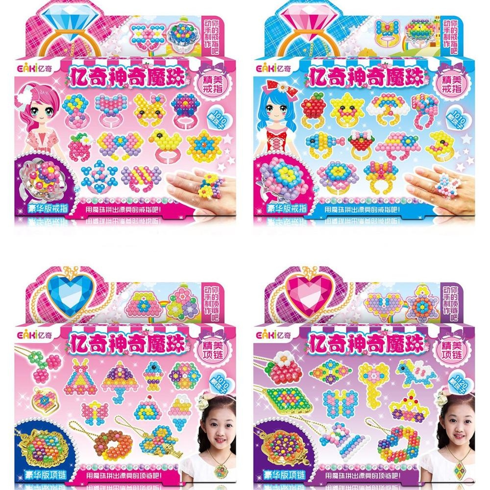 EAKI Children Beads Crafts Kids DIY Magic Water Spray Beads Crystal Puzzle Toys Handmake Necklace Ring Girl Birthday Gifts