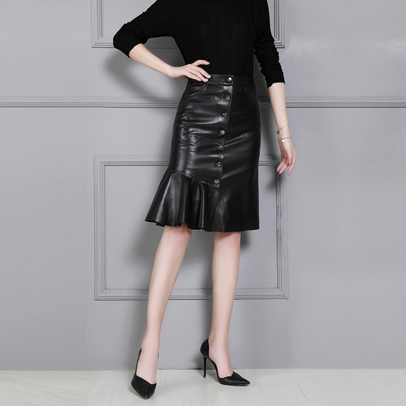 Sheepskin High Waist Single Breasted Women A-Line Skirts Knee Length Office Ladies Real Leather Ruffle Wrap Skirts Plus Size