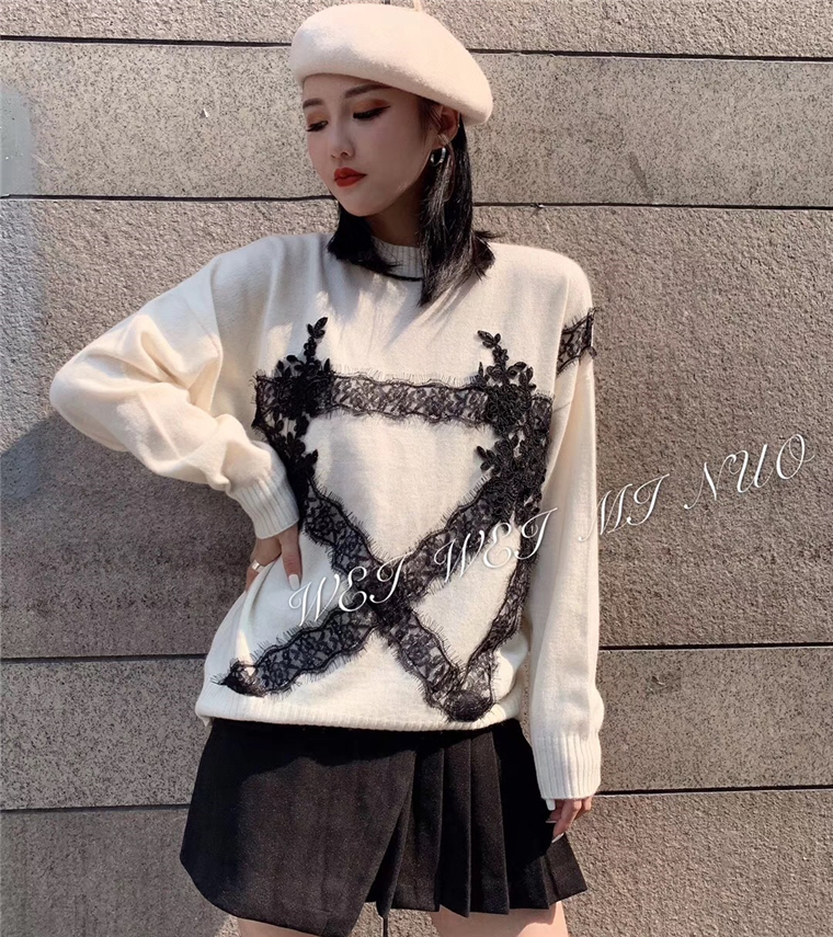 New  Cashmere female  edition   winter half a turtle neck long sleeve splicing lace loose thin western style sweater