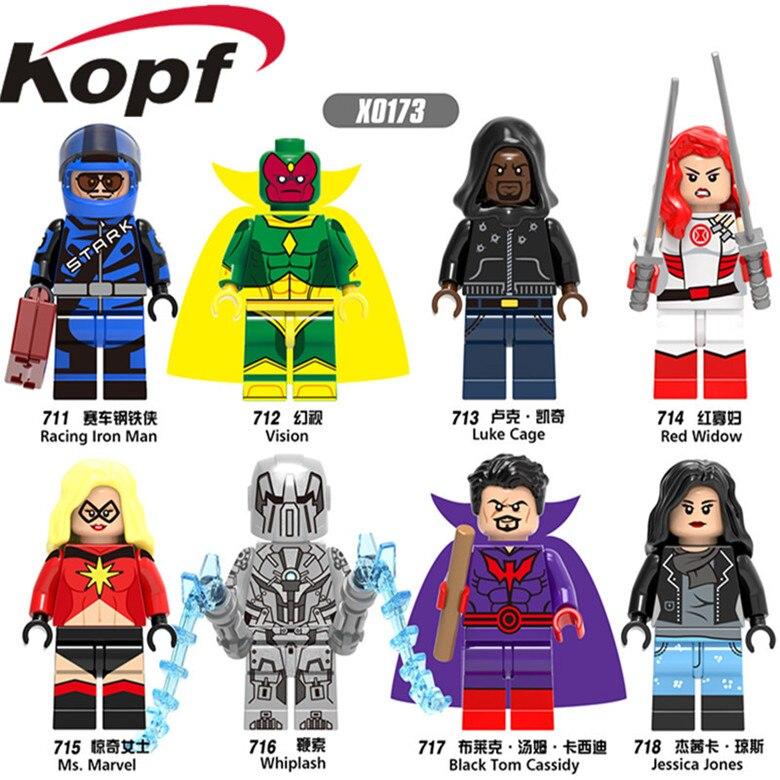 KOPF Super Heroes Warrior Luke Cage Racing Iron Man Vision Whiplash Famous Movie Bricks Building Blocks Children Toys Gift X0173