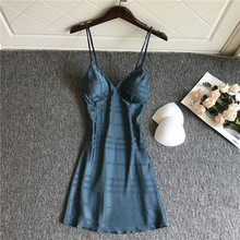 Summer Women Satin Nightdress Striped Spaghetti Strap Lady Nightgown Sleepwear Sexy Intimate Lingerie Bathrobe Silky Nightwear